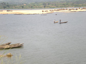 A makeshift settlement built in the middle of the Cross River near Afikpo