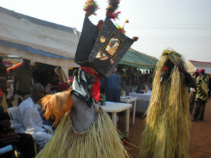 Egbiri masquerade entertaining guests at the annual Ehugbo Day Celebration held in December