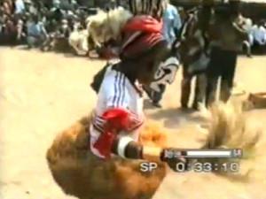 Okumkpo masquerade performing solo dance in Ogo Amikpo, Ozizza, Afikpo