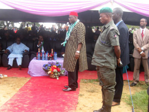 Professor Onyebuchi Chukwu delivering a speech at a reception organized for him in Afikpo, Ebonyi State